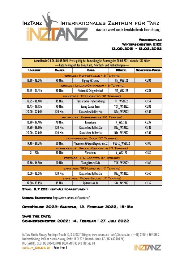 Unsere wöchentliche Kurse im Wintersemester 2021-22